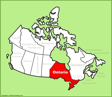 Ontario location on the Canada Map