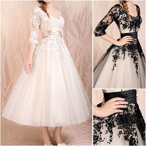 China New Champagne Black Lace Short Bridal Wedding Gown
