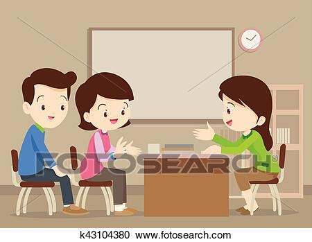 Clipart of family talking with teacher k43104380 - Search