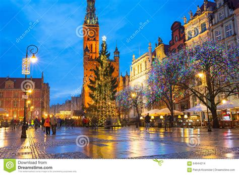 Christmas Tree And Decorations In Old Town Of Gdansk