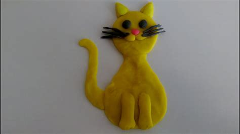 How To Make Easy Yellow Cat With Play Dough - YouTube