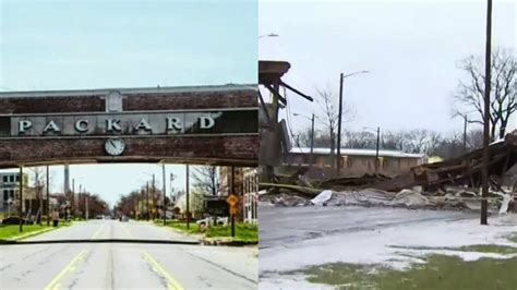 Cleanup underway after iconic Packard Plant bridge