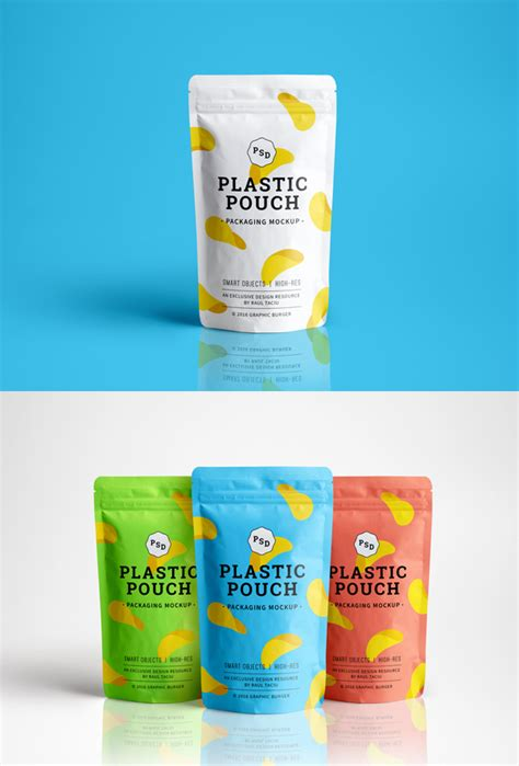 Plastic Pouch Packaging MockUp   GraphicBurger
