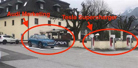 Audi uses Tesla Supercharger stations to advertise e-tron